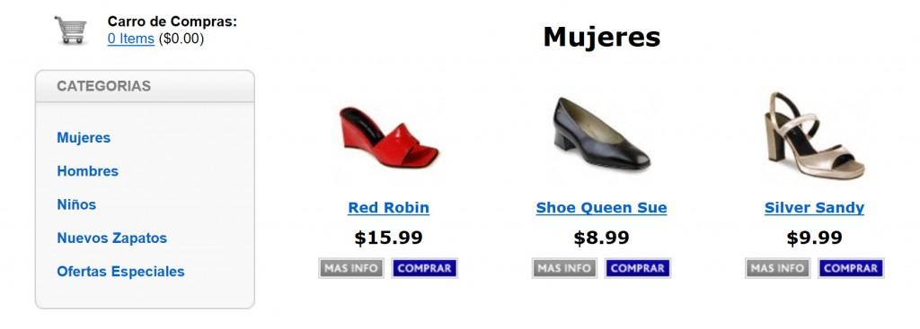 Productos en una página de categoría en una tienda online