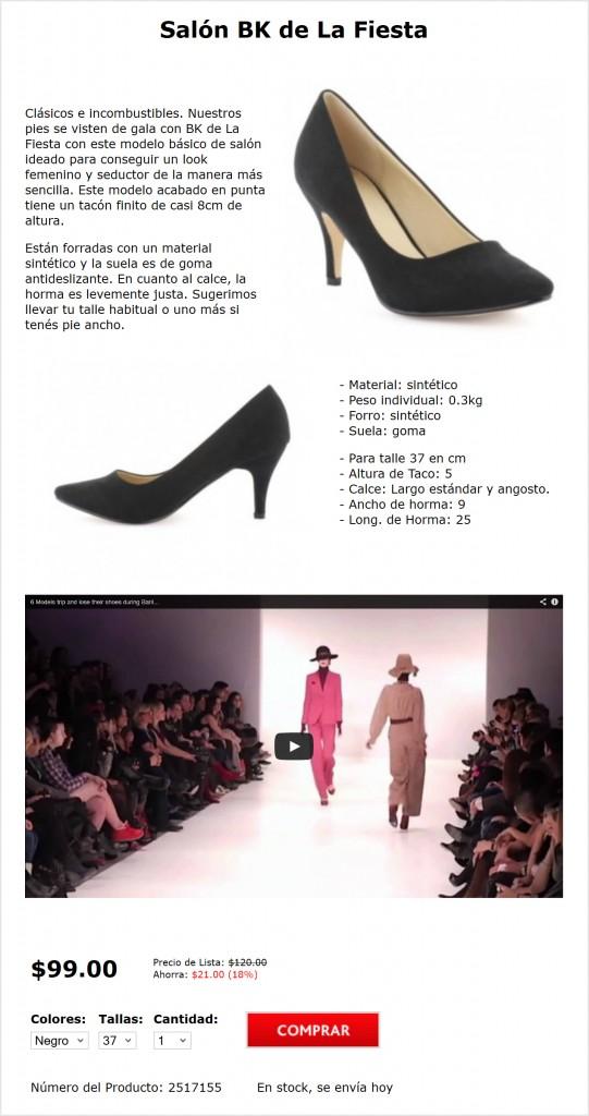 Página de producto de zapatos